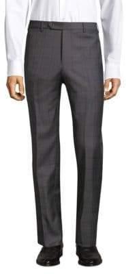 Zanella Straight-Fit Windowpane Wool Pants