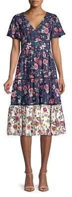 Eliza J Floral Flutter-Sleeve Dress