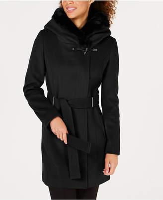 Calvin Klein Petite Faux-Fur-Trim Coat