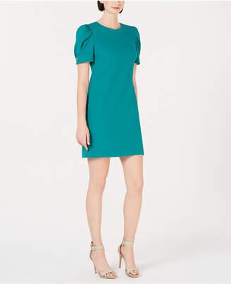 Calvin Klein Petite Embellished Puff-Sleeve Scuba Dress