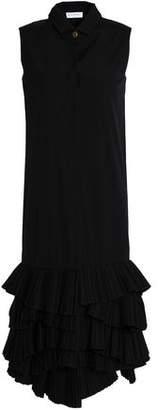 Vionnet Pleated Ruffle-Trimmed Cotton-Blend Poplin Shirt Dress