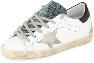Golden Goose Superstar Leather Low-Top Sneakers with Glitter Tongue