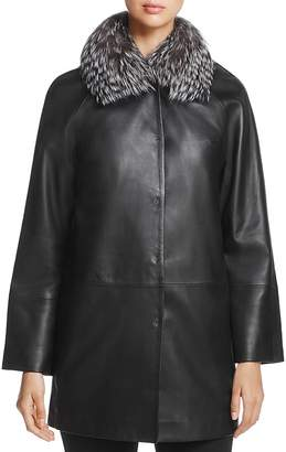 Maximilian Furs Saga Fox Fur-Collar Leather Jacket - 100% Exclusive