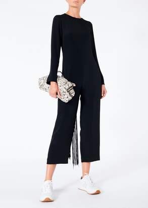 Tibi Silk Jumpsuit with Fringe