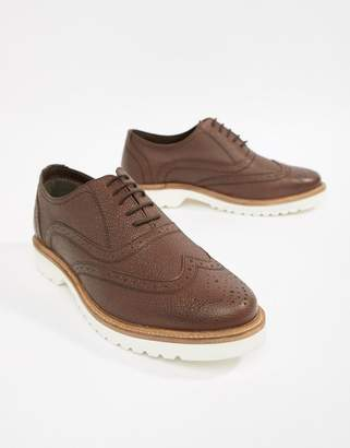 Ben Sherman Scotch Grain Brogues In Tan Leather