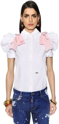 Faille & Poplin Shirt W/ Puff Sleeves $690 thestylecure.com