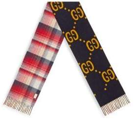 Gucci Men's GG Wool Scarf - Navy Red