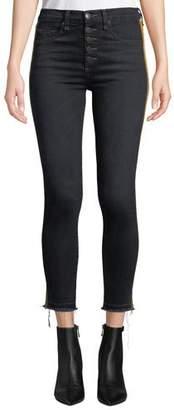 "Veronica Beard Debbie 10"" Rise Skinny Jeans with Tuxedo Stripes"