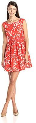 Julian Taylor Women's Fit and Flare Pleated Dress with Belt