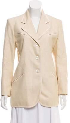 Ines de la Fressange Tweed Notch-Lapel Structured Blazer