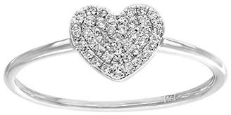 N. Naava Women's 18 ct White Gold 0.13ct Pave Set Diamond Heart Ring - Size P