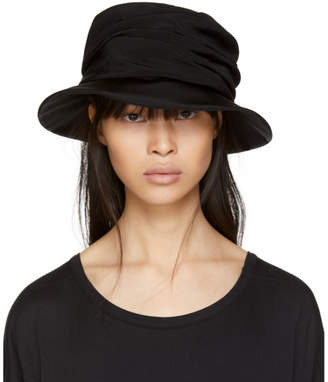 Y's Ys Black Drape Cloche Hat