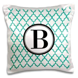 3dRose Mint green pattern monogram initial B - Pillow Case, 16 by 16-inch