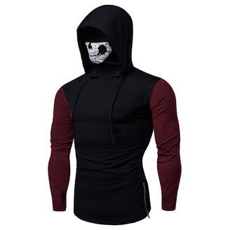 Mens Hoodies 2018 Newest Pervobs Mens Mask Skull Pullover Long Sleeve Solid Hooded Sweatshirt Tops Blouse