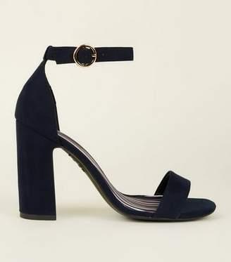 New Look Navy Suedette Stripe Lined Block Heels
