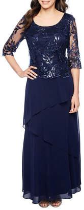 MAYA BROOKE Maya Brooke 3/4 Sleeve Sequin Top Evening Gown