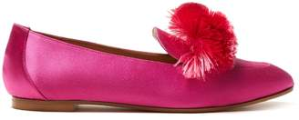 Aquazzura Wild pompom-embellished satin loafers