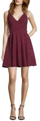 Xscape Evenings Glitter V-Neck Party Dress