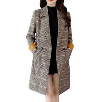 Pervobs Women Coat&Jacket Clearance Women Coat, Pervobs Women Vintage Winter Warm Plaid Long Sleeve Button Woolen Pocket Jacket Coat Outwear(S, )