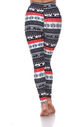 72a2243010764 White Mark Woman s Plus Size Leggings with Deer and Snowflakes - Winter  Leggings