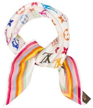Louis VuittonLouis Vuitton Multicolore Silk Chiffon Scarf