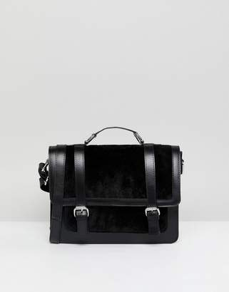 Asos Leather and Suede Mix Buckle Front Satchel