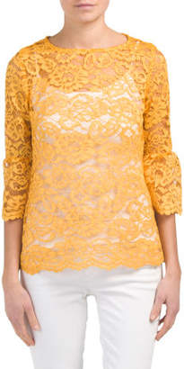 Petite Bell Sleeve Lace Blouse