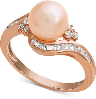 Macy's Pink Cultured Freshwater Pearl (8mm) & Diamond (1/4 ct. t.w.) Swirl Ring in 14k Rose Gold