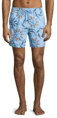 Vilebrequin Mistral Swimmers Embroidered Swim Trunks, Light Blue $590 thestylecure.com