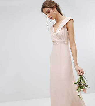 Tfnc Tall Bardot Maxi Bridesmaid Dress With Fishtail And Embellished Waist