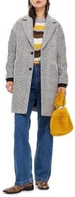 Topshop PETITE Herringbone Check Coat