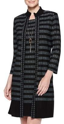 Misook Ribbed Digital Pattern Knit Duster Jacket
