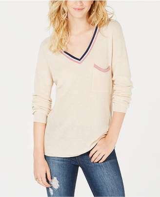 Hippie Rose Juniors' Stripe-Trimmed V-Neck Sweater