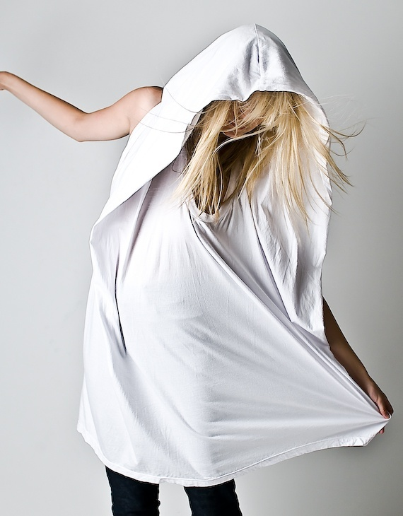 Complex Geometries White Square Hood Tank Dress