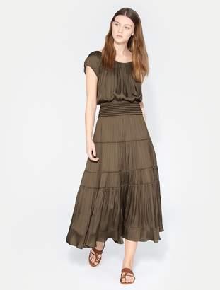 Halston Flowy Smocked Midi Skirt