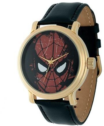 Marvel Spider-Man Men's Vintage Gold Shiny Alloy Case Watch, Black Leather Strap