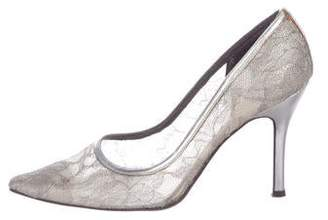 Stuart Weitzman Lace Pointed-Toe Pumps