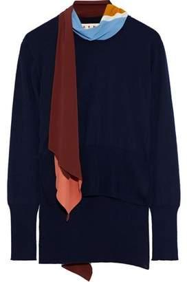 Marni Crepe De Chine-paneled Cashmere Sweater