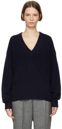 Tibi Navy Cashmere Patch Pocket V-Neck Pullover