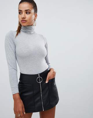PrettyLittleThing basic roll neck long sleeve body in gray