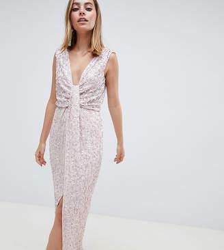 Asos DESIGN Petite drape knot front scatter embellished sequin maxi dress