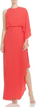 Halston One-Sleeve Cowl-Back Maxi Dress