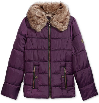 Jessica Simpson Quilted Puffer Jacket with Faux-Fur Trim, Big Girls (7-16) $130 thestylecure.com