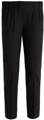 Brunello Cucinelli Slim Leg Wool Blend Cropped Trousers - Womens - Navy