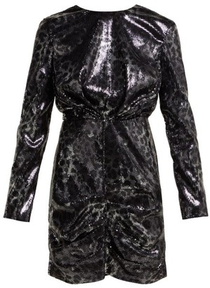 MSGM Sequinned Leopard Print Mini Dress - Womens - Black Silver
