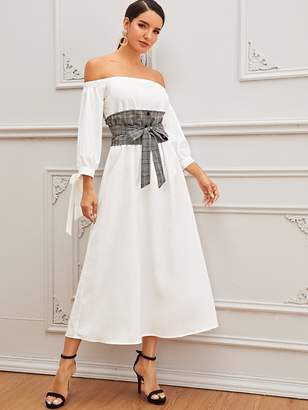 Shein Off Shoulder Knotted Cuff Dress With Obi Belt