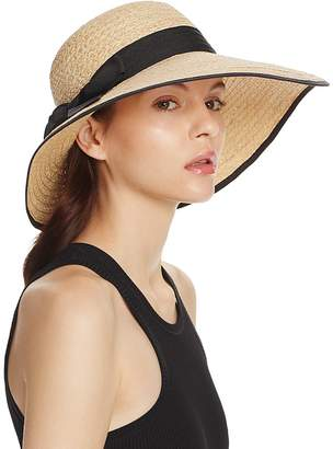 Aqua Raffia Straw Sun Hat with Bow Trim - 100% Exclusive