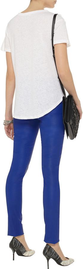 LnA Chelsea cutout slub linen and cotton-blend T-shirt