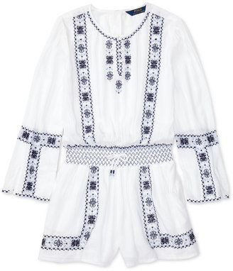 Ralph Lauren Embroidered Romper, Big Girls (7-16) $65 thestylecure.com