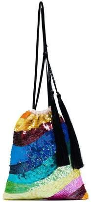 ATTICO sequin tassel rainbow bracelet bag